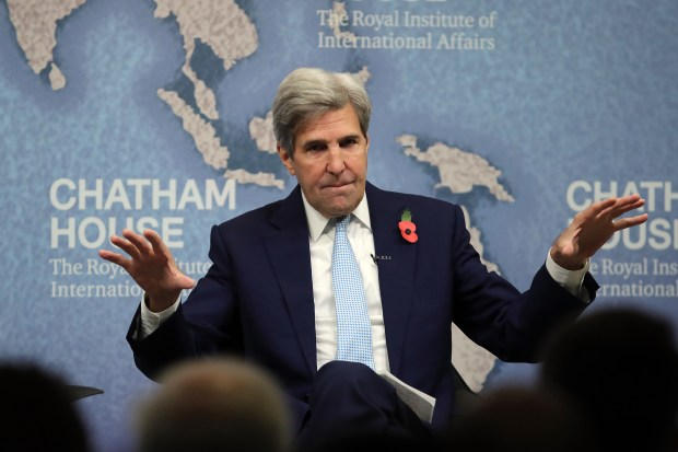 Former Secretary of State John Kerry speaks on Monday in London about the Iran nuclear deal. Kerry warned President Donald Trump this week about provoking North Korea with strong rhetoric.