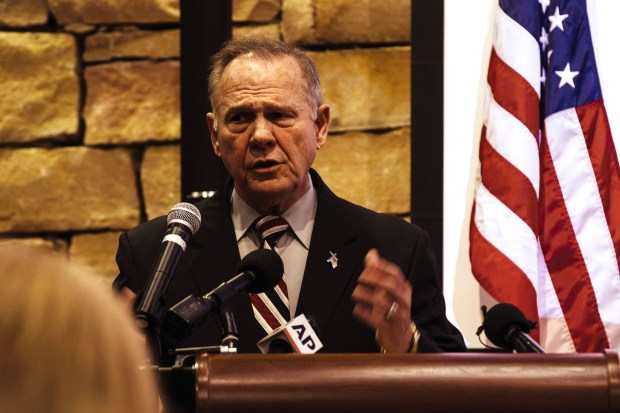 Republican candidate for U.S. Senate Roy Moore speaks during a Veterans Day event on Saturday in Vestavia Hills, Ala.