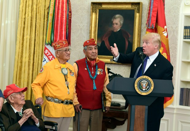 President Donald Trump speaks during a meeting with Navajo code talkers on Monday at the White House.