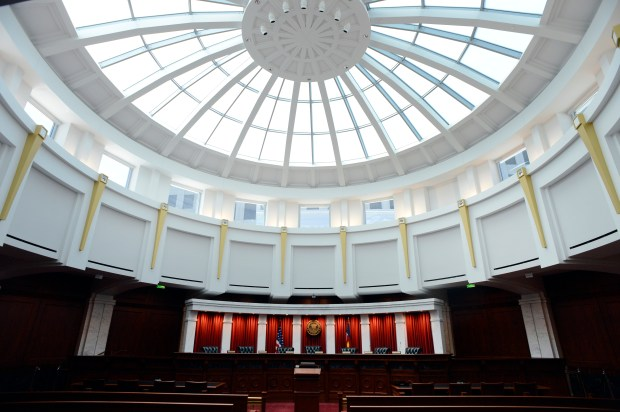 The Colorado Supreme Court chambers at the Ralph L. Carr Justice Center in Denver.