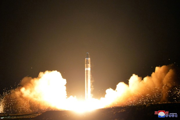 "This Wednesday, Nov. 29, 2017, image provided by the North Korean government on Thursday, Nov. 30, 2017, shows what the North Korean government calls the Hwasong-15 intercontinental ballistic missile, at an undisclosed location in North Korea. Independent journalists were not given access to cover the event depicted in this image distributed by the North Korean government. The content of this image is as provided and cannot be independently verified. Korean language watermark on image as provided by source reads: ""KCNA"" which is the abbreviation for Korean Central News Agency."
