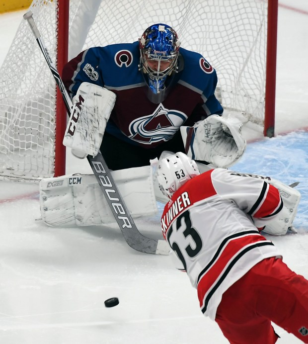 Colorado Avalanche goalie Semyon Varlamov (1) ...