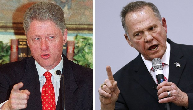 "At left, President Bill Clinton speaks to reporters at the beginning of the Monica Lewinsky scandal, on Jan. 26, 1998. Clinton claimed he ""did not have sexual relations with that woman, Miss Lewinsky."" At right, Senate candidate Roy Moore speaks during a campaign event this week at a church in Jackson, Ala. Moore denied allegations of sexual misconduct with a number of accusers."
