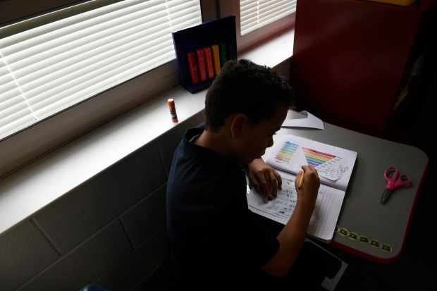 Xavier Templeton, 10, learns about the five animal kingdoms in his 5th grade Spanish class taught by Jagoba Velasco at the Denver Language School on Nov. 1, 2017 in Denver. The Language Denver School is Denver's only full-language immersion K-8 charter school. From K-8th grade, students are completely immersed in either Spanish or Mandarin Chinese. Every class - math, science, social studies -- is conducted in either Spanish or Chinese. Students easily switch from one language to another, and that includes English. And their test results are among the best in Denver. Students always score high on state and Denver tests in every subject. Administrators say this is due to the brain development that comes from being immersed in a foreign language.