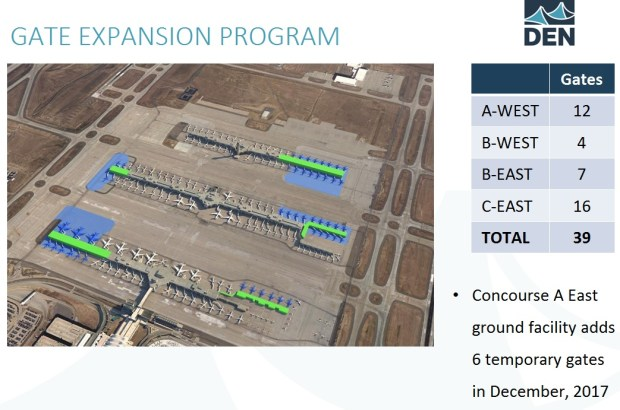 Details from a presentation of Denver International Airport's planned 39-gate expansion on its existing concourses.