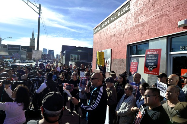 At least 200 people came out to ink! Coffee on Larimer Street in Denver's Five Points neighborhood last Saturday to protest after the company displayed a sign that celebrated gentrification.