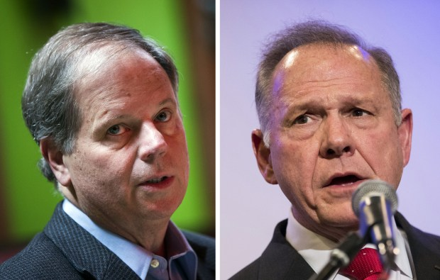 Democrat Doug Jones, left, faces Republican Roy Moore in next month's U.S. Senate election in Alabama.