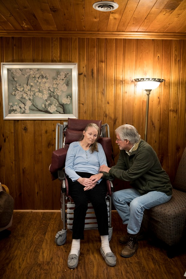 Diane Thorsen and Richard Davis, at Thorsen's nursing home in Hopkins, Minnesota, on Nov. 2, 2017, are able to deduct facility costs as medical expenses under current tax law. Losing those deductions under the new GOP tax bill will triple their taxes. (MUST CREDIT: Jenn Ackerman for The Washington Post)