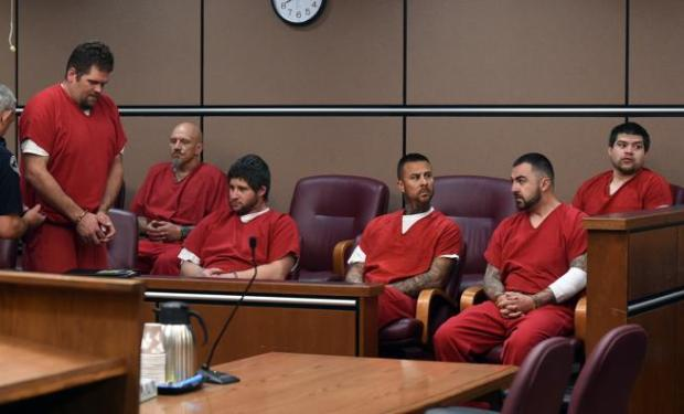 From left, David Lee Thurston, Terry Kelley, David Burns, Lucas Trujillo, Michael Montez and Ricardo Cordova appear May 9 in Boulder District Court.