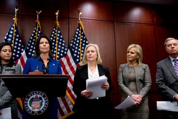 From left, Rep. Elise Stefanik, R-N.Y., ...