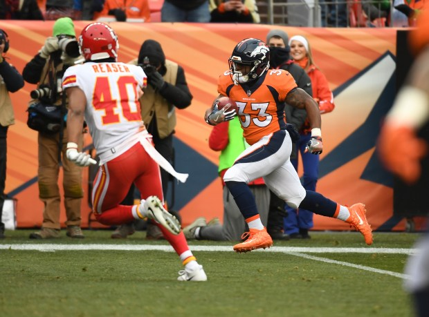 Denver Broncos running back De'Angelo Henderson ...