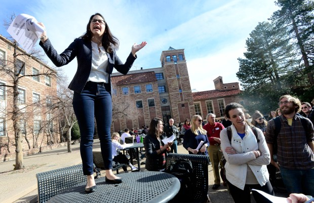 Florencia Foxley speaks during a protest against the federal tax bill on the University of Colorado campus in Boulder on Nov. 29.