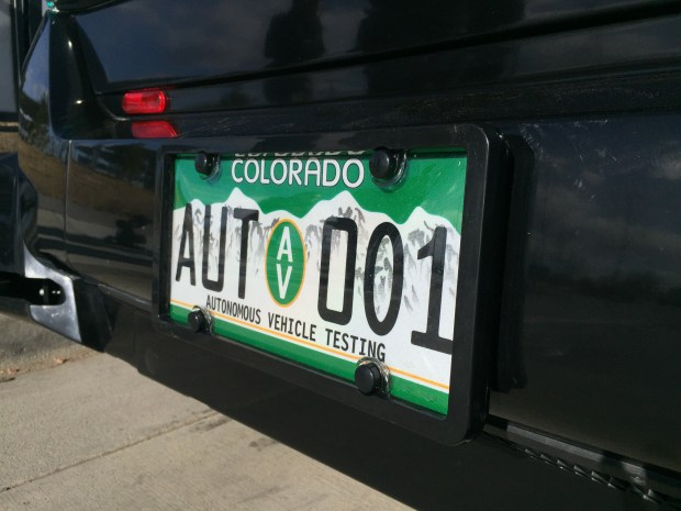 EasyMile's EZ-10 autonomous shuttle is the first vehicle to get approval from the state of Colorado, hence the first autonomous vehicle license plate.