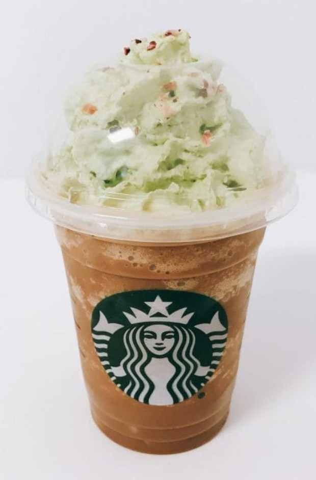 A Christmas Tree Frappuccino, which baristas mistakenly made without its strawberry topping.