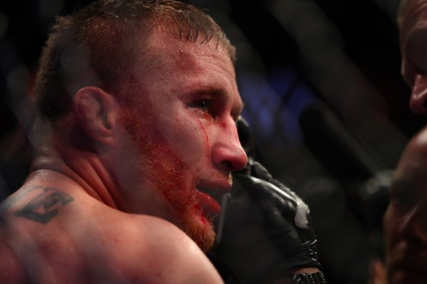 Justin Gaethje looks on during his ...