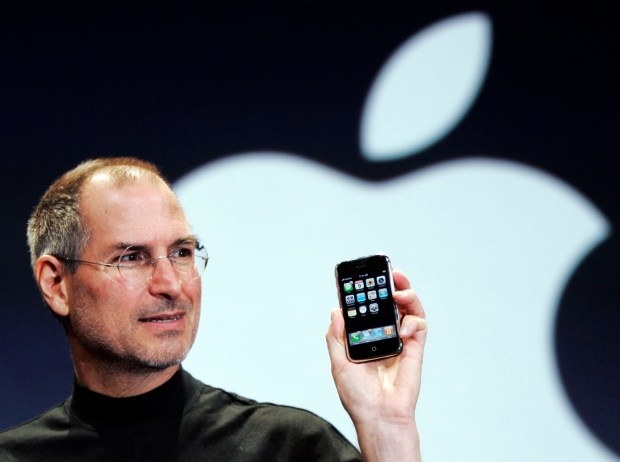 Apple CEO Steve Jobs introduces the iPhone at the MacWorld Conference in San Francisco on Jan. 9, 2007. Jobs famously said in 2010 that he didn't let his kids use iPads and he generally restricted their screen time.