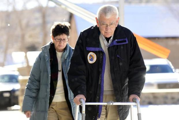 Former Boulder Mayor Bob Greenlee, and his wife Diane, walk into the Costilla County Courthouse in San Luis on Thursday. Greenlee pleaded guilty to criminally negligent homicide for causing a 2016 crash that killed a woman.