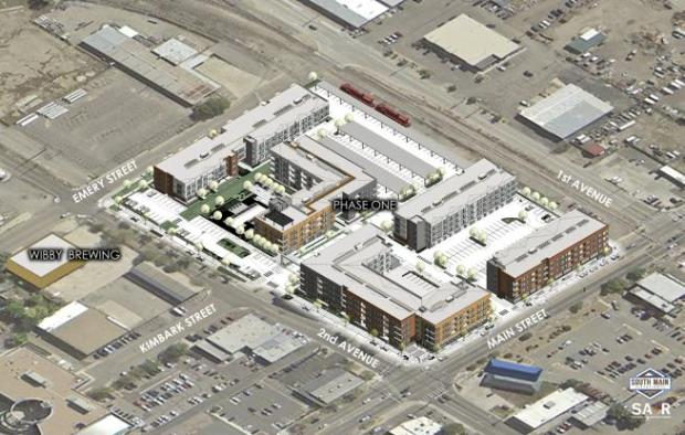 An aerial view rendering of the South Main Station project in Longmont.