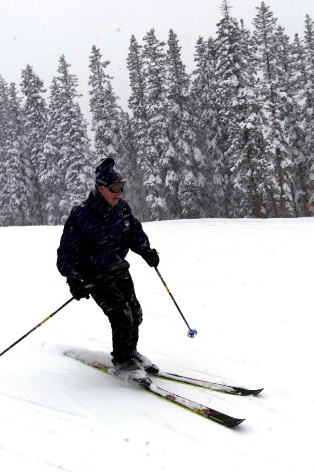 The owner of Wolf Creek Pass Ski area Kingsbury Pitcher cuts turns down mountain at Wolf Creek Pass Ski area during heavy early season snows on Nov. 12, 2000.