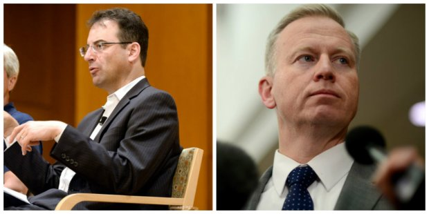 Phil Weiser, left, and George Brauchler, right.