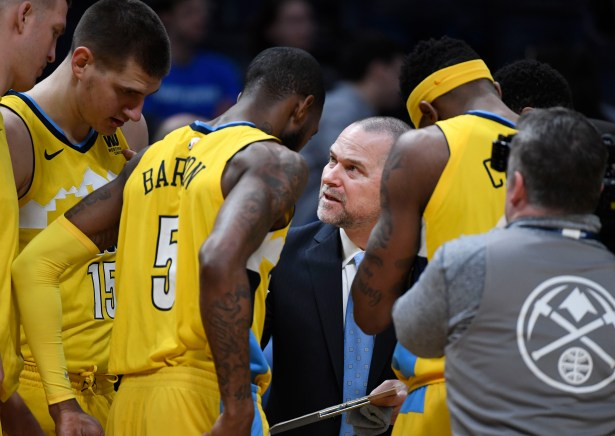 Image result for Nuggets players huddle