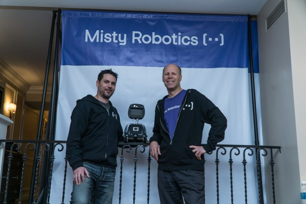 In Las Vegas at the annual International CES event, Misty Robotics co-founder Ian Bernstein, left, and Misty CEO Tim Enwall, unveil the Misty I, the Boulder company's first personal robot.