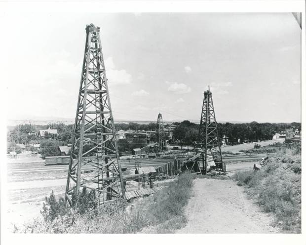 Oil rigs in Florence in 1862, during Colorado's first oil boom.