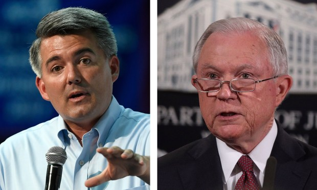 U.S. Sen. Cory Gardner, R-Colo., and Attorney General Jeff Sessions.