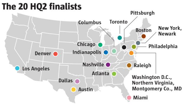 Amazon picked 20 regions, including Denver, to further explore building a second headquarters. Here's the competition.