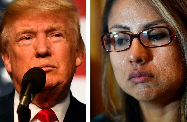 Left: President Donald Trump, campaigning in Golden in 2016. Right: Ingrid Encalada Latorre, who is in the U.S. illegally, during a 2017 press conference.