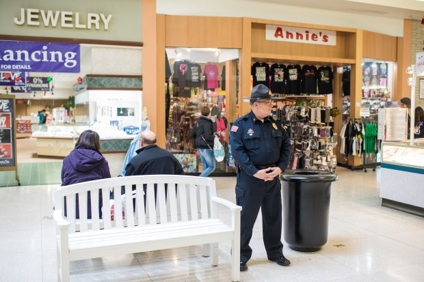 Security officer Don Howell patrols the Shenango Valley Mall in Hermitage, Pennsylvania on Dec. 23, 2017.