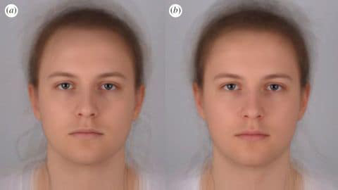 "Scientists combined 16 photo portraits into one composite image. On the left, the composite ""sick"" face, and on the right, the composite healthy one."