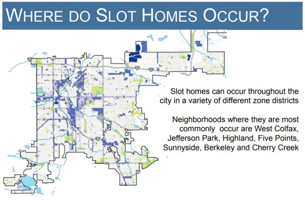 "This map from a recent Denver planning department presentation shows zoning districts that have allowed ""slot"" homes, shaded in blue."