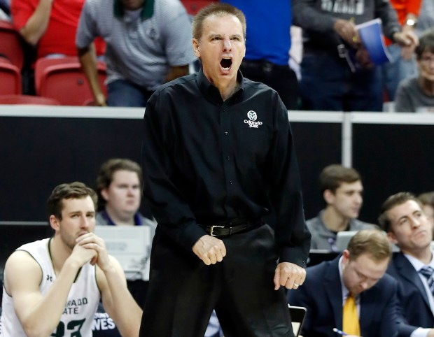 Colorado State University basketball coach Larry Eustachy reacts to a call during a game last March.Eustachy resigned Monday, following an internal investigation of his conduct and treatment of players.