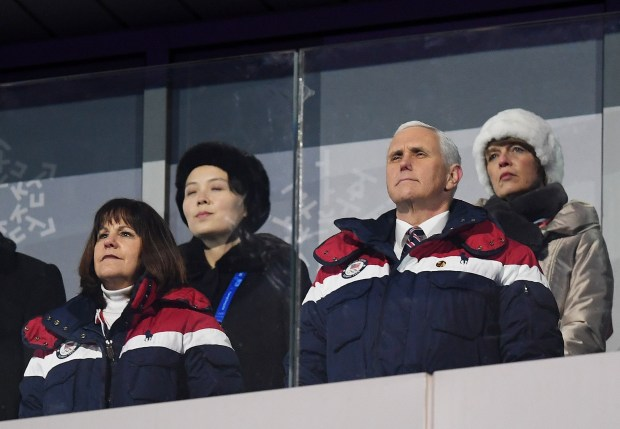 Vice President Mike Pence and North Korean Leader Kim Jong-un's sister, Kim Yo-Jong (back left), watch the opening ceremonies of the 2018 Winter Olympic Games last Friday at PyeongChang Olympic Stadium in Pyeongchang, South Korea.