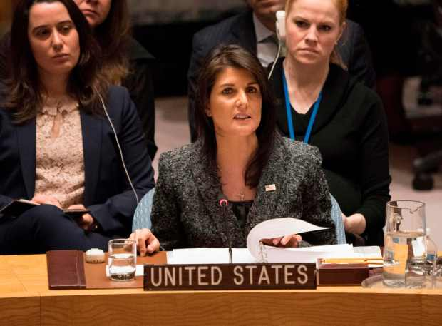 U.S. Ambassador to the United Nations Nikki Haley speaks after a Feb. 24 Security Council vote at U.N. headquarters in New York.