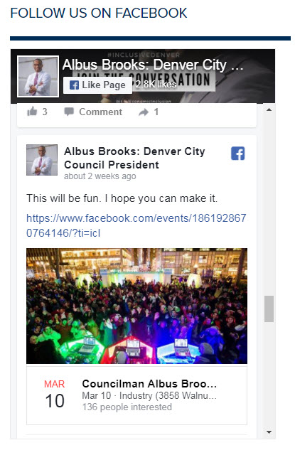 A screen shot taken on Feb. 21, 2018, shows that a post about a birthday and campaign fundraising event was visible in a Facebook feed on the office website of Denver City Council President Albus Brooks. His office has since removed social media feeds from the website.