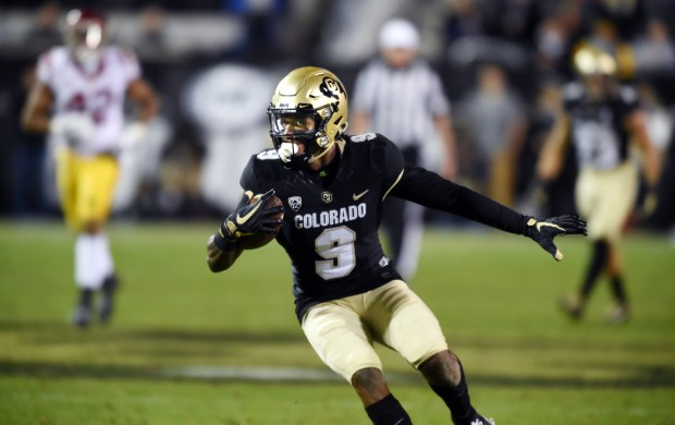 Juwann Winfree, of CU, scores his second TD on a pass reception during the Nov. 11, 2017 game in Boulder.