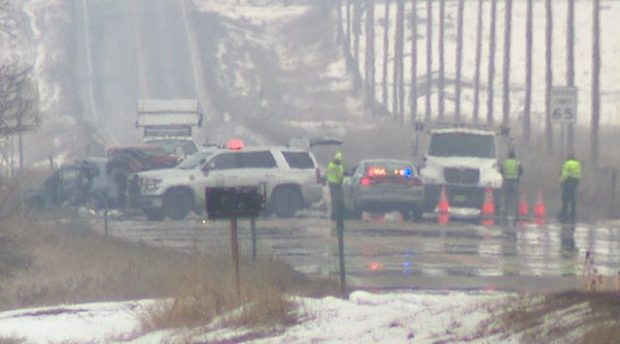 At least two people were killed Friday morning in a crash on Highway 52 west of Hudson, and several others were injured.