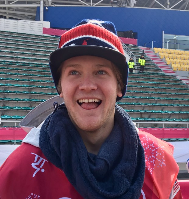 Kyle Mack of Silverthorne was all smiles after winning silver at the Olympic debut of men's snowboard big air Saturday at South Korea's Alpensia Ski Jumping Centre. Photo by Jason Blevins / The Denver Post