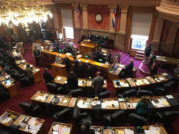 Colorado state Senators hold a moment of silence Tuesday for slain El Paso County sheriff's Deputy Micah Flick.