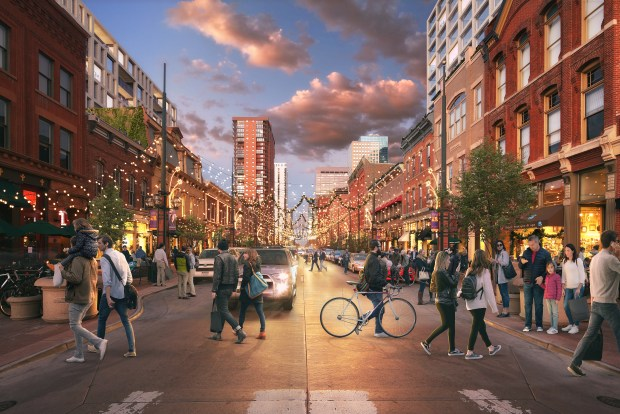 An early rendering of the proposed updates to Larimer Square. The historic distric's owner announced plans on Feb. 20, 2018 to build two new buildings, refurbish the alleyways and plant urban gardens there.