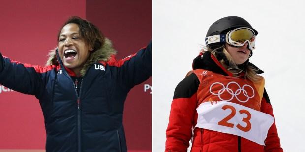 Olympians Lauren Gibbs, left, and Elizabeth Swaney.