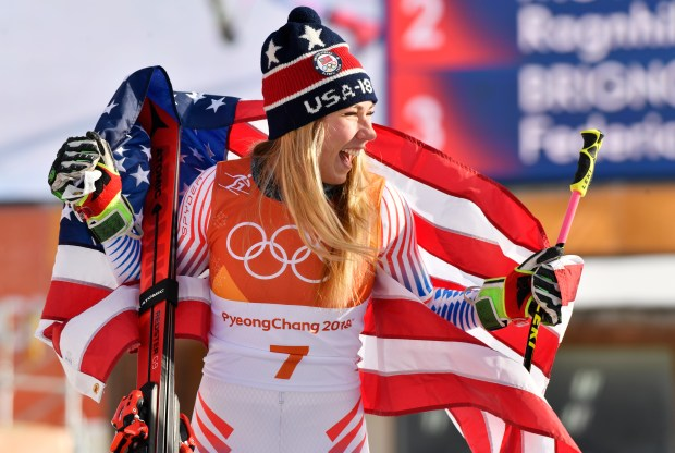 Mikaela Shiffrin of USA wins the gold medal during the Alpine skiing women's giant slalom at Yongpyong Alpine Centre on Feb. 15, 2018.