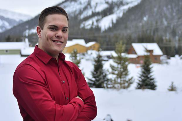 Benjamin Goff poses for a photo on the back deck of his house in Montezuma where he lives with his mom and stepfather, Jeni and Paul Hinkley. Goff has filed to run for mayor in April's election.