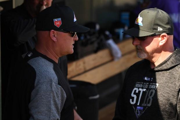 Colorado Rockies pitching coach Steve Foster ...