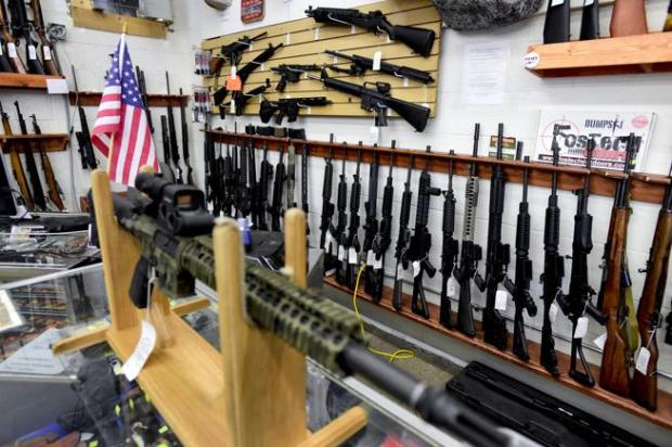 A rack of AR and AK-style rifles at Grandpa's Pawn and Gun in Longmont, last fall.