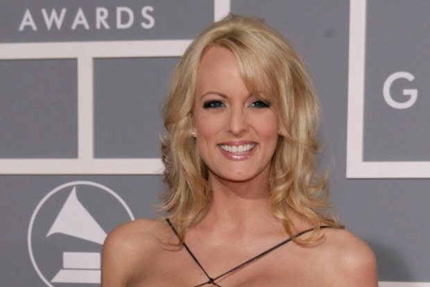 Stormy Daniels arrives for the 49th Annual Grammy Awards in Los Angeles on Feb. 11, 2007.