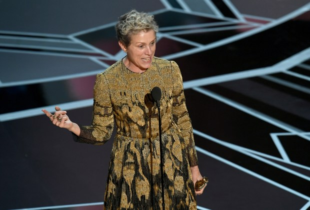 "Frances McDormand accepts the Best Actress award for ""Three Billboards Outside Ebbing, Missouri"" during the 90th Annual Academy Awards at the Dolby Theatre in Hollywood on Sunday."