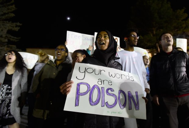 University of Colorado students protest conservative commentator Ann Coulter's speech on the CU campus in Boulder Wednesday evening.